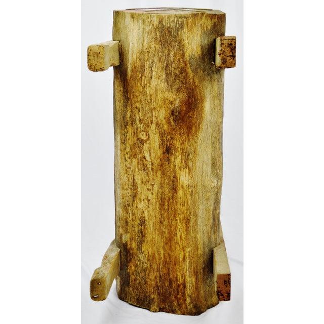 "Antique Primitive ""Petrified"" Wood Log Bench For Sale - Image 9 of 13"