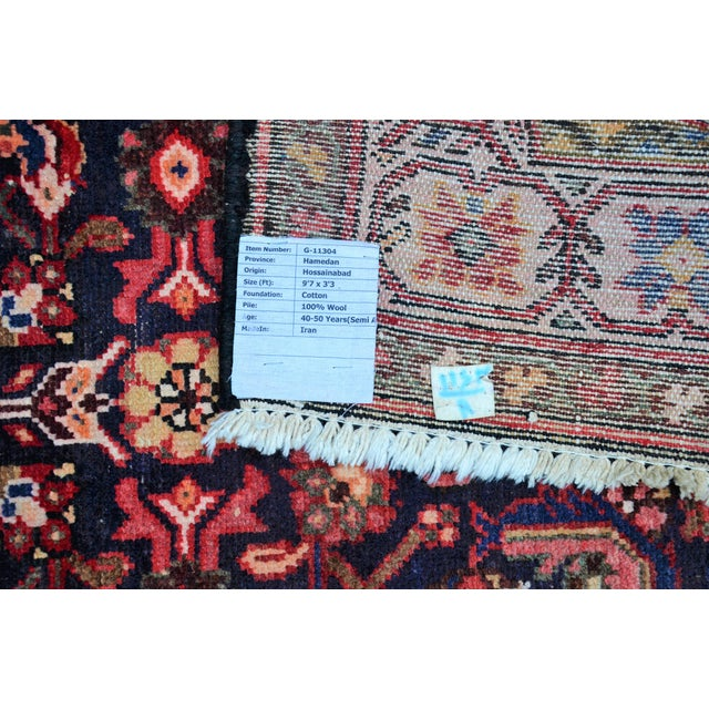 Textile Vintage Mid-Century Floral Persian Hamedan Runner - 3′3″ × 9′7″ For Sale - Image 7 of 11