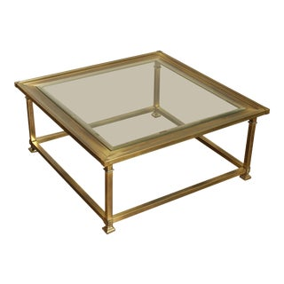 1960's Mastercraft Brass and Glass Coffee Table For Sale