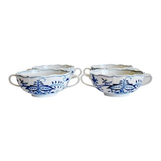 Vintage Meissen Blue Onion Soup Bowls - Set of 4 For Sale