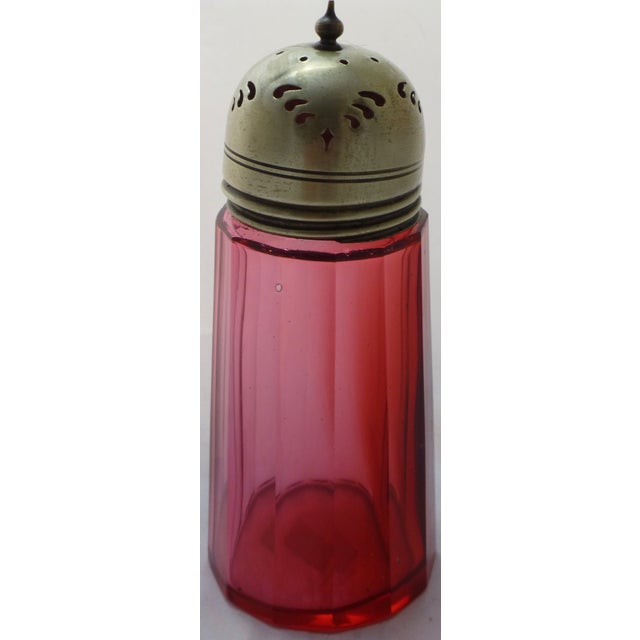Antique Cranberry Glass Muffineer - Image 5 of 9
