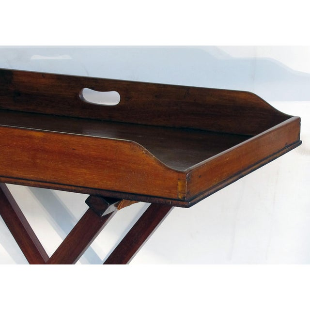 Perfect for use as a dry bar, the beautifully colored large solid mahogany rectangular tray with sloped end for easy...