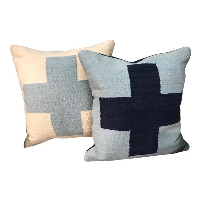 Jonathan Adler Reversible Light Blue Cross Pop Wool Throw Pillows - a Pair For Sale