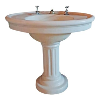 Vintage Pedestal Sink, Circa 1900s For Sale