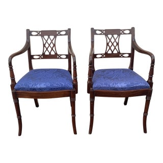 1990s Vintage Bespoke Mahogany Arm Chairs-a Pair For Sale