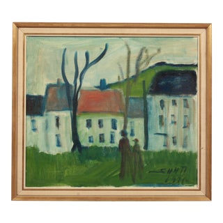 1971 Somber Expressionist Village Outing