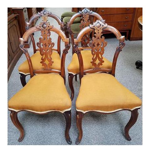 C.1880s English Walnut Dining Chairs   Set Of 4