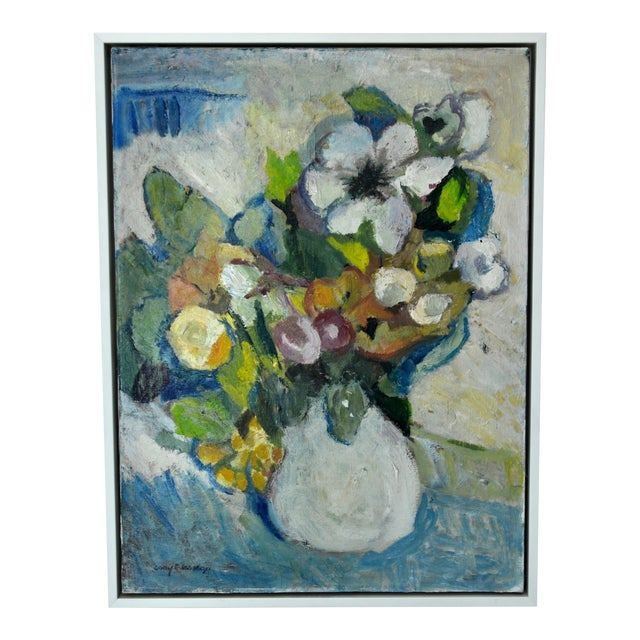 Mid Century Oil on Canvas Painting of Flowers in a Vase For Sale