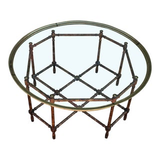 Baker Vintage Round Faux Bamboo Glass & Brass Tray Coffee Table
