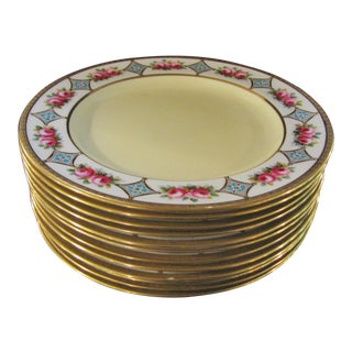 Crown Chelsea English Jeweled Plates - Set of 12 For Sale