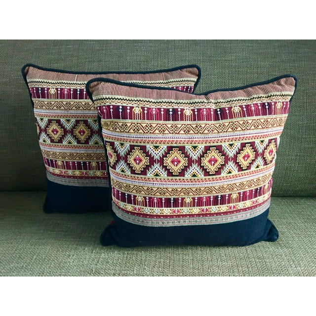 Traditional Arabic Embroidered Pillow Set - a Pair For Sale - Image 4 of 4