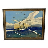 Image of Mid Century Vintage 1972 Oil Painting on Board of Sailboat at Sea, Signed For Sale