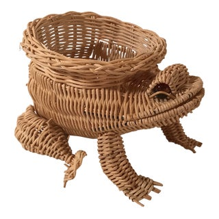 20th Century Boho Chic Wicker Frog Planter For Sale