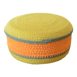 Mustard Yellow Lidded Basket For Sale