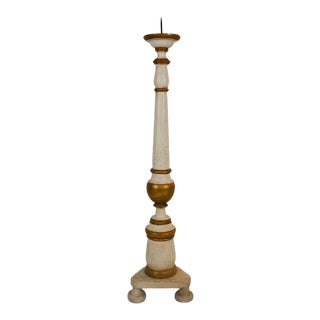 Italian Carved Floor Candlestick For Sale