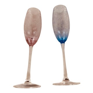 His & Hers Colored Champagne Flutes - A Pair For Sale