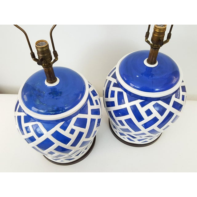 Frederick Cooper Blue & White Ginger Jar Lamps - A Pair - Image 2 of 7