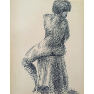 1975 Charcoal Female Nude Drawing Bay Area Artist For Sale