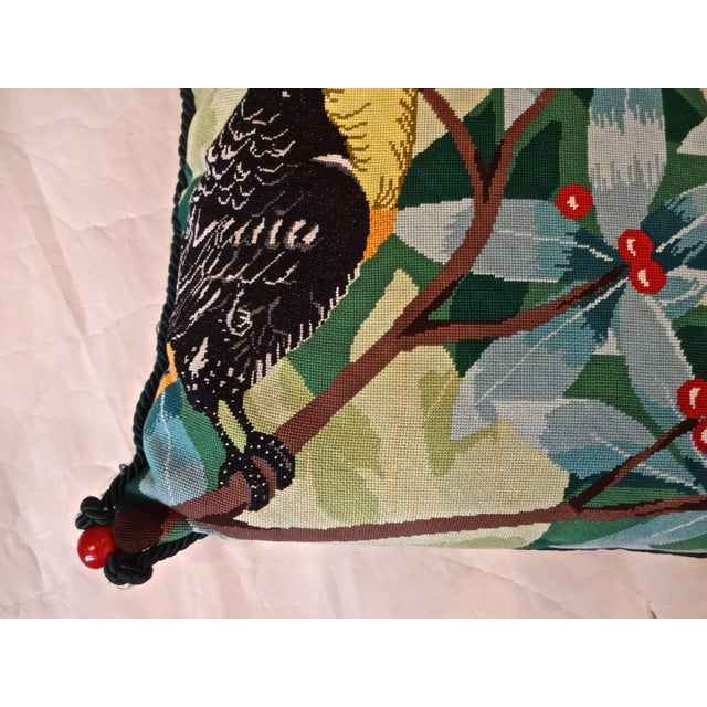 French Toucan Needlepoint Pillow For Sale - Image 3 of 6