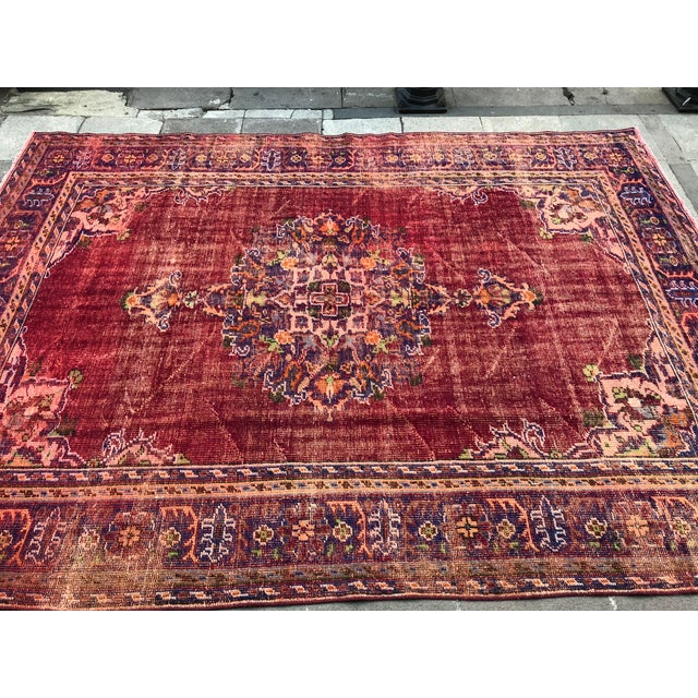 Islamic Antique Handwoven Turkish Red Wool Oversize Rug - 7′1″ × 9′10″ For Sale - Image 3 of 9