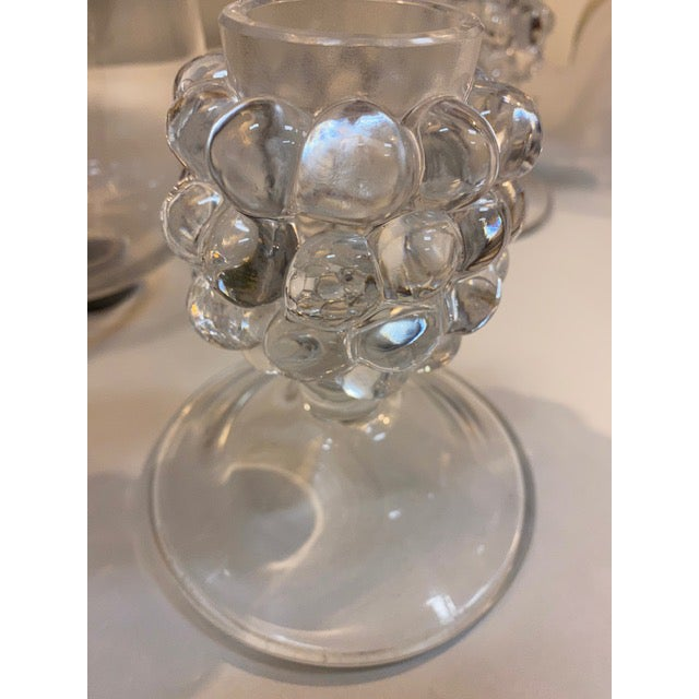 Glass Lalique Candle Holder, Grapevine Form With Hurricane Shade - a Pair For Sale - Image 7 of 12