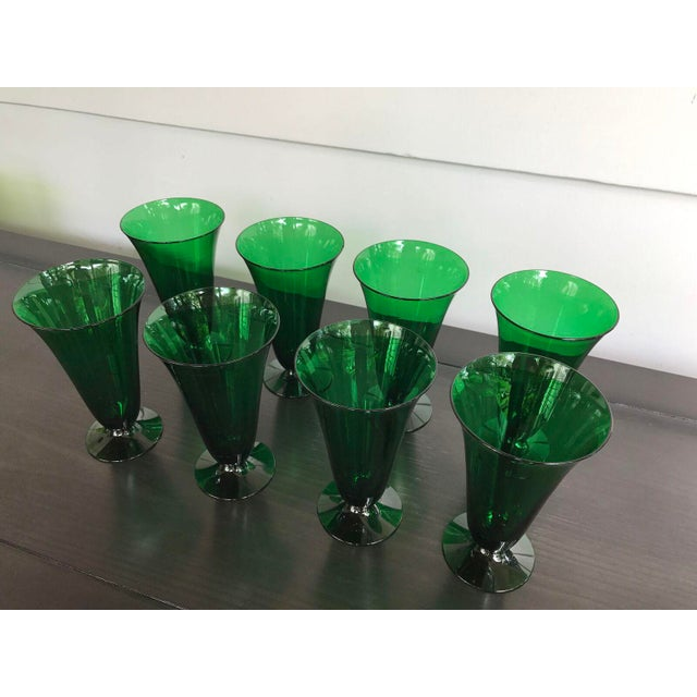 Vintage Green Dessert Glasses - Set of 8 - Image 3 of 6