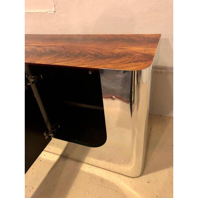 Burlwood Monumental Sideboard of Chrome and Burl Wood by Pace Collection For Sale - Image 7 of 12