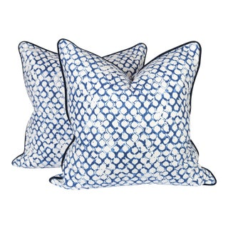 Navy and Ivory Fish Scale Pillows - A Pair