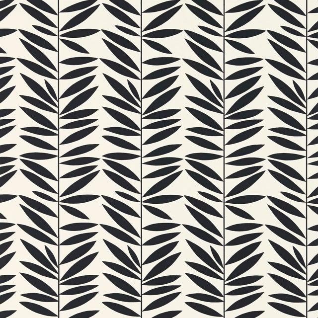 Mid-Century Modern Schumacher Leaf Stripe Wallpaper in Ebony For Sale - Image 3 of 3