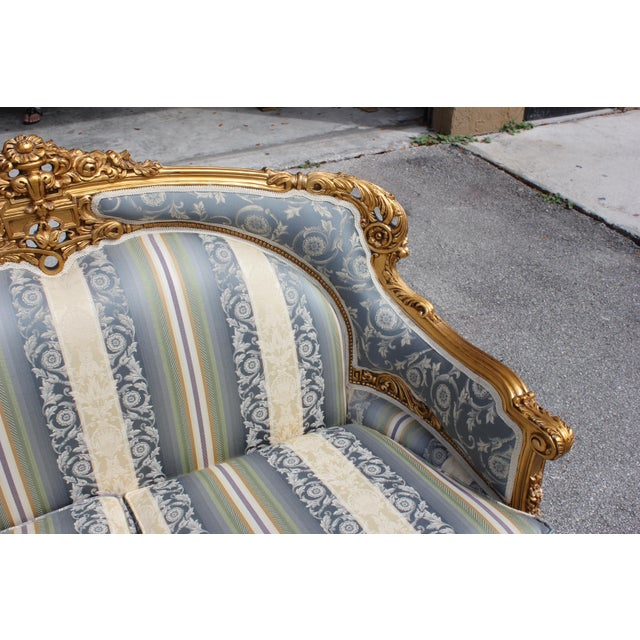 1940s Vintage French Louis XVI Style Giltwood Loveseat For Sale - Image 11 of 13