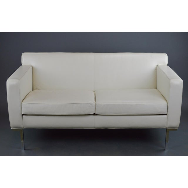 Off White Leather Two Seat Sofa by DWR - Image 3 of 9