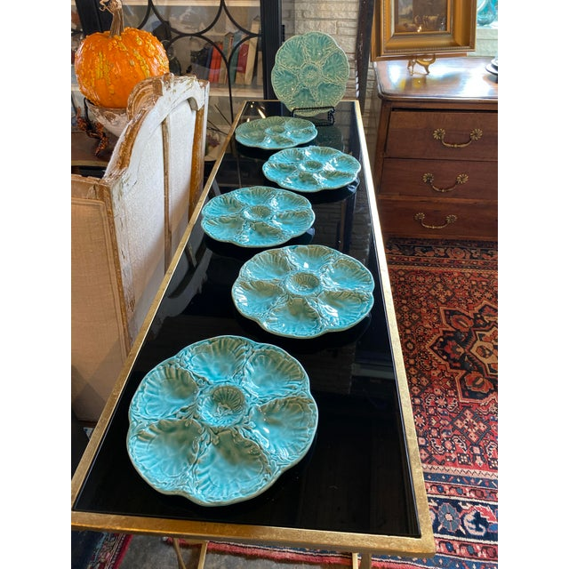 French 1960s French Turquoise Oyster Plate For Sale - Image 3 of 10