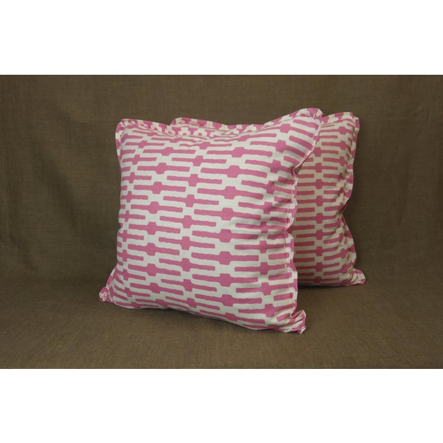 2020s Annie Selke Throw Pillows in Links Cotton Print - a Pair For Sale - Image 5 of 5