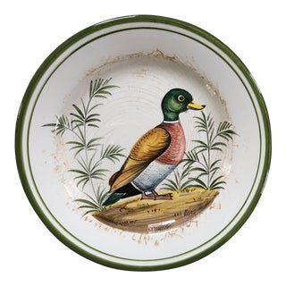Vintage Mid Century Italian Hand Painted Majolica Mallard Duck Decorative Plate For Sale