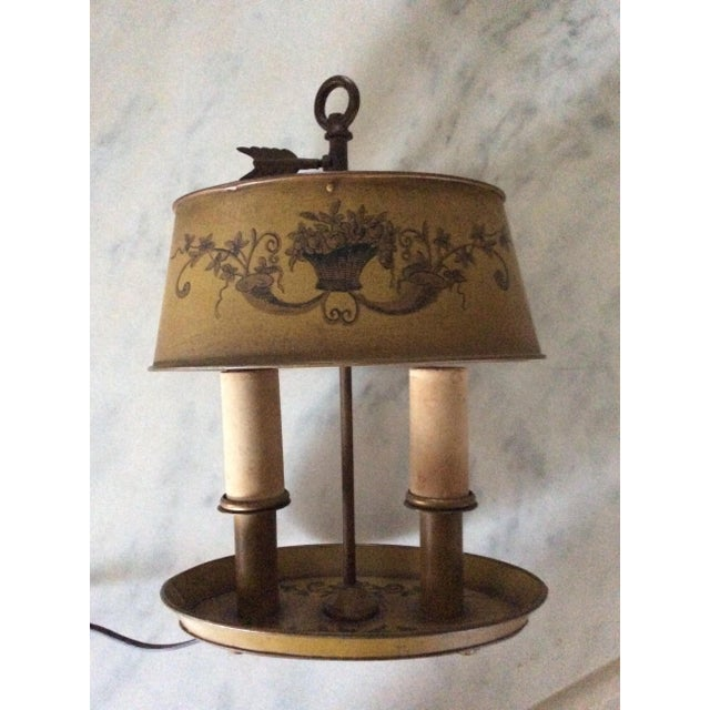 Metal 1940s Vintage French Tole Bouillotte Desk Lamp For Sale - Image 7 of 12
