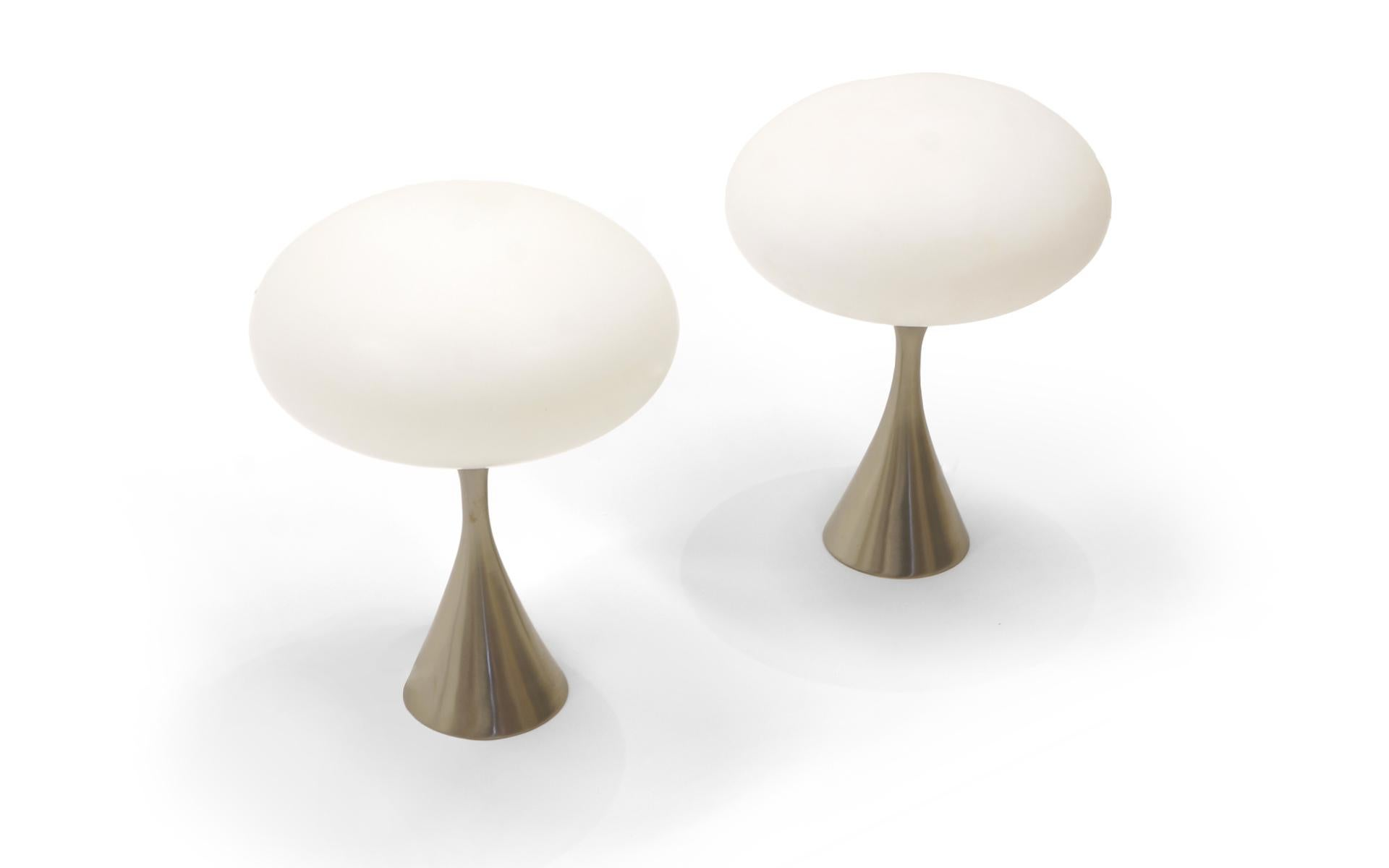 Pair Of Laurel Mod Table Lamps With Original Shades. Satin Chrome Tulip  Bases. Base