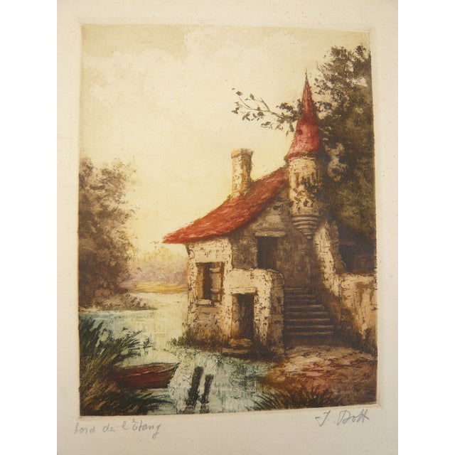 French Lake House Etching - Image 1 of 2