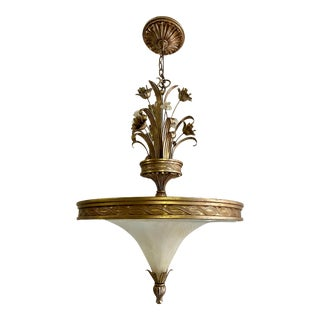 Hollywood Regency Italian Murano Glass Chandelier For Sale
