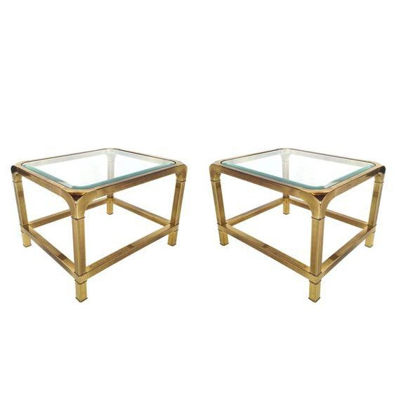 1970 Hollywood Regency Mastercraft Brass and Glass Low Profile Side Tables - a Pair For Sale - Image 11 of 11