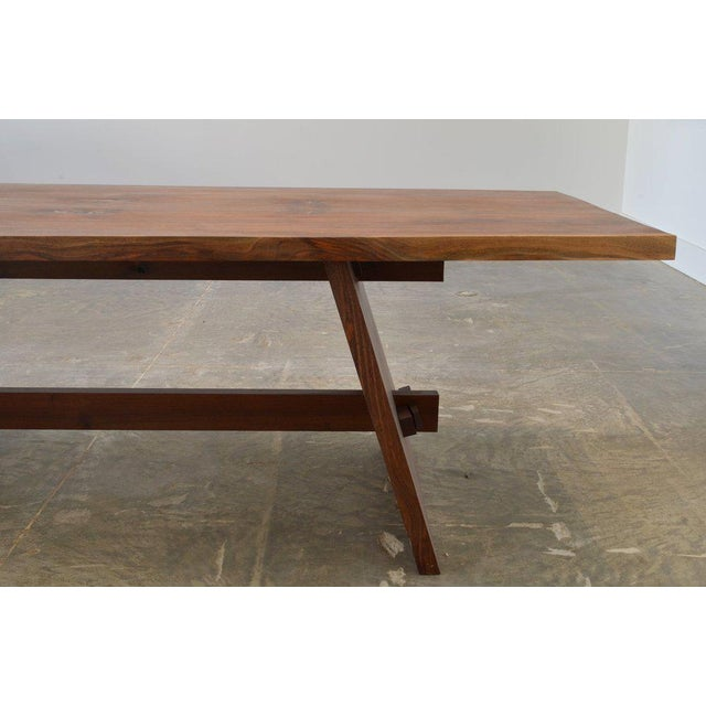 Campaign Ozshop Walnut Slab Campaign Style Dining Table For Sale - Image 3 of 5