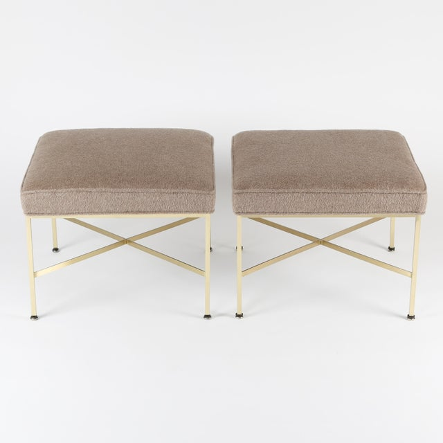1950s 1950S VINTAGE PAUL MCCOBB X-BASE BRASS STOOLS- A PAIR For Sale - Image 5 of 10