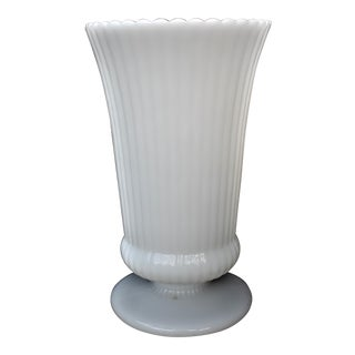 Vintage Fluted Milk Glass Vase