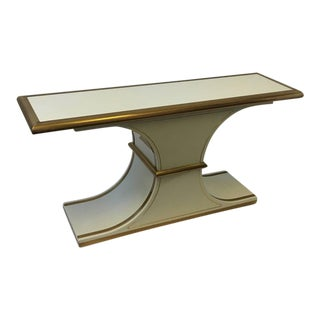 Brass and Lacquer Console Table by Mastercraft