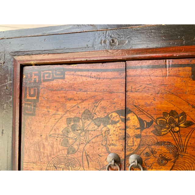 Asian Style Late 19th Century Antique Mongolian Chinese 2 Door Cabinet For Sale - Image 4 of 11