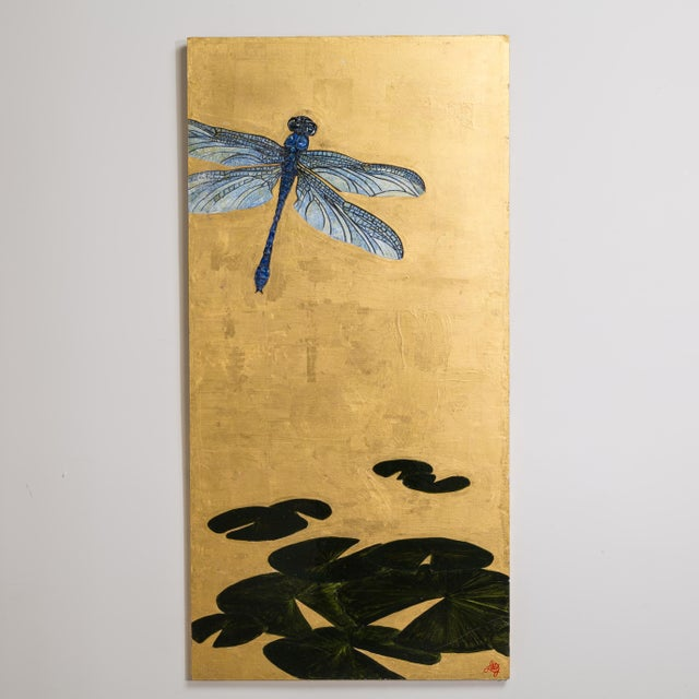 A Large Goldleafed Panel titled Dragons on Golden Pond by Lily Lewis - Image 2 of 5