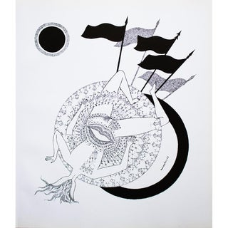 1968 Max Walter Svanberg Composition No. 8, Original Period Black & White Lithograph For Sale