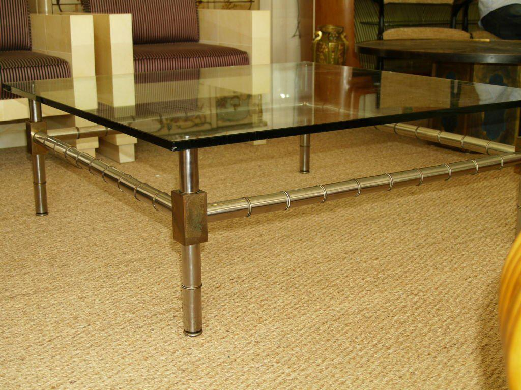 Merveilleux Bronze Oversized Faux Bamboo Coffee Table For Sale   Image 7 Of 7