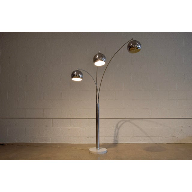 White Mid Century Sonneman Style 3 Light Chrome Arc Floor Lamp with Marble Base For Sale - Image 8 of 11