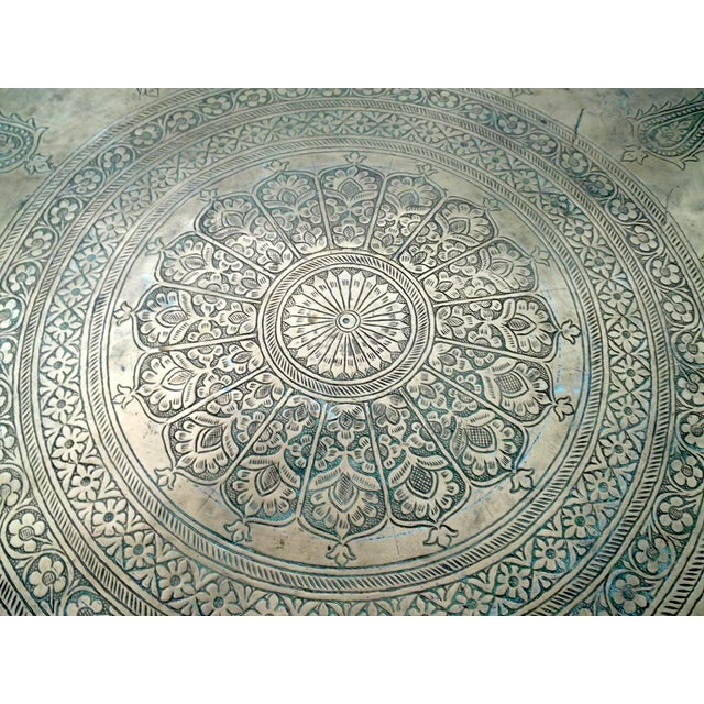 """Antique Hand Chased Persian Copper Tray 26.5"""" - Image 3 of 6"""