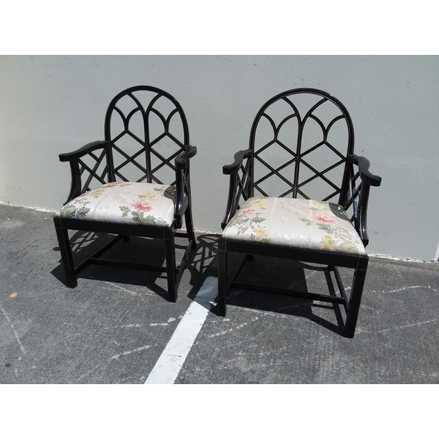 Lattice Work Back Black Arm Chairs - a Pair For Sale - Image 9 of 11
